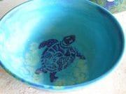 Turquoise turtle bowl.
