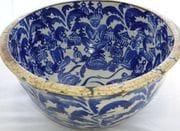 Cobalt water bowl.