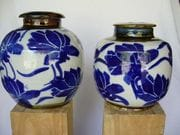 Two screw top cobalt/white jars