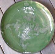 Shino Plate with cobalt and rutile.