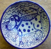 Large doggie water bowl with childrens painting.