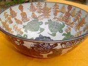 Shino bowl with cobalt and rutile.