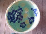 Japanese green large bowl with cobalt and rutile.