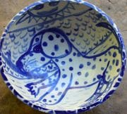 Doggie water bowl with cobalt childrens drawing.
