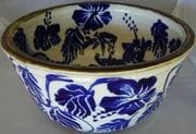 Large water bowl with cobalt design.