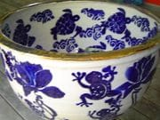 Frogs and Lotuses water bowl.