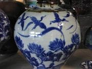 A Lotus and water bird lagoon blossom jar.