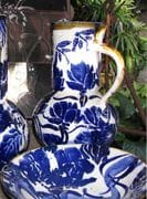 Large blue/white jug and salad bowl. Blue and white.