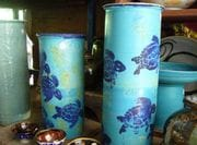 Selection of Heliconia vases in Pale green and Turquoise.