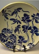 Cobalt and white dragonfly pond plate.