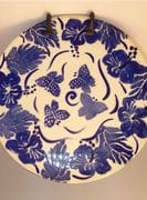 Cobalt and white flowers and butterflies plate.