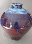 Sang de boeuf Blossom Jar with cobalt brush turkey brush work.  47 cm. ht.