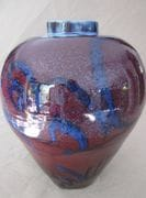 Sang-de-boeuf Jar with cobalt brush work Turkey. (2)  47 cm. ht.