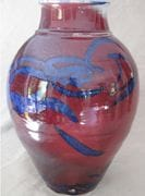 Sang-de-boeuf Blossom Jar with Brush Turkey (3) 50 cm.ht.
