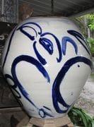 Large Jar with cobalt brush painting Bird.  2009.