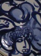 Detail of cobalt painting in bowl.