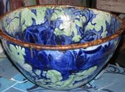 Large bowl with green and cobalt frog decoration.  2009.