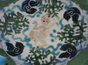 Detail of Platter with Turquoise cobalt and rutile.  August 2009.