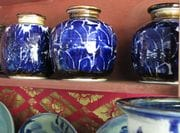 Screw Top Jars in Cobalt/white.  2009.