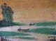 River scene from Cambodia, oil painting.