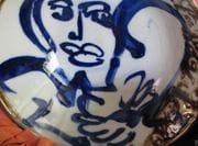 Cobalt design on bowl on white porcelain.  2009.