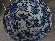 Frog bowl with cobalt design.   2009.