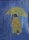 Monk with umbrella.