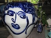 Large blossom jar with cobalt brushwork face.