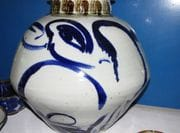 Large cobalt bird jar.