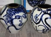 Two large jars with cobalt painting.