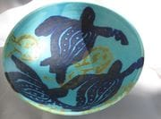 Turquoise turtle rice bowl.