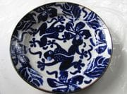 Dinner plate with blue design.