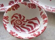 Red Coral design bowl with Tin glaze.