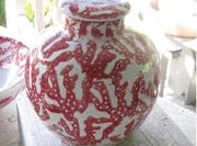 Red coral Ginger Jar.
