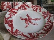Red coral large dinner plate