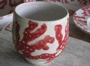 Red coral tea bowl.