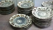 Plates made in Bali with Ivory and iron glaze.