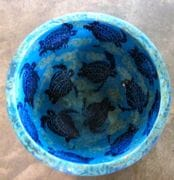 Large water bowl in Turquoise glaze with cobalt turtles