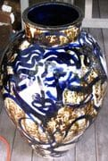 A large Blossom Jar from August 2011 firing. Iron Man.