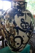 Large Stoneware Jar with cobalt and iron painting.