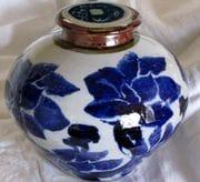 Ginger/Tea jar with cobalt lotus design.