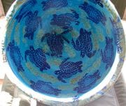 Large Bowl in turquoise glaze with turtle design.