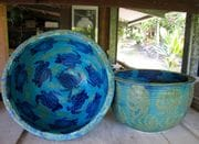 Large water bowls with turtles in Turquoise glaze