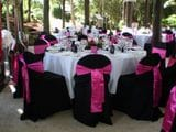 BLACK CHAIR COVERS PINK SASHES