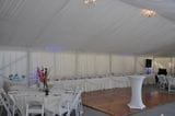 Silk Lined Marquee showing Bridal, Cake and Guests Tables