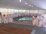 Silk Lined Marquee over pool feature.