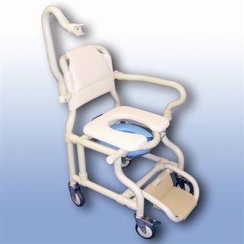 Large deluxe mobile shower chair with pan/panholder