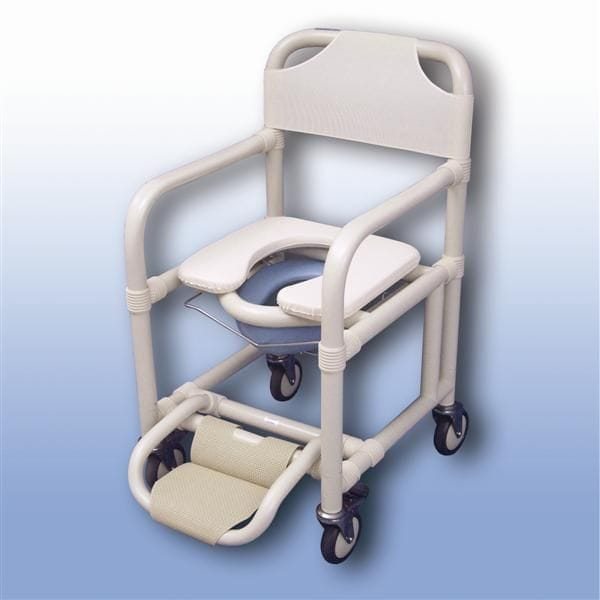 Standard mobile shower chair with pan/pan holder