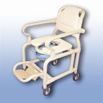 Deluxe mobile shower chair with pan/pan holder