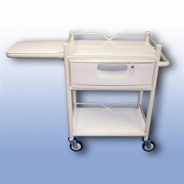 Lockable draw trolley fold table